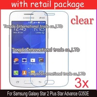 free shipping 3x clear screen protector lcd film guard case For Samsung Galaxy Star 2 Plus Star Advance G350E,with package
