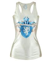 V103 women tank tops vests 2014 new summer power games digital printing sheath stretch sexy skinny round neck white clothes