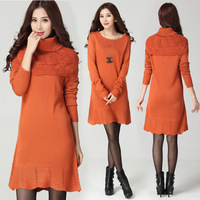 2014 large size women's winter classic codes were thin  sweater dresses 3076 shawl collar detachable