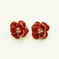 2014 New Arrival Rigant 18K Rose Gold Plated Red Glaze Flower Party Stud Earring Free Shipping