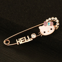 New Brand Brooch Product Christmas Gifts Cute Hello Kitty Brooches Cat Jewelry For Girl Dress/Scarf Free Shipping