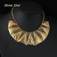 Original fashion Vintage gold chain Gothic Metal Torques pendant choker Collar bib necklace Women jewelry Item,AF049