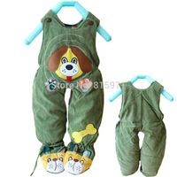 2014 Casual baby winter warm pants cotton corduroy character dog children bib clothing 2045