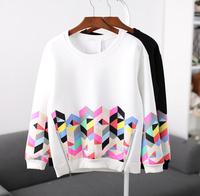 [Alice] 2014 autumn new sweatshirts Geometric patterns printed, Hem zipper good quality women's hoodies 2 colors free shipping