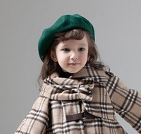 Wholesale 10pcs 2014 Pretty Girl Plain Wool Beret Caps NEW Boy Spring Blank Felt Berets Hats Kid Fall Wool Caps Children Trilby