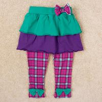 Retail FREE SHIPPING 2014 brand kids autumn plaid pants baby girls long trousers thick tutu 2-in-1 legging children wear G5389