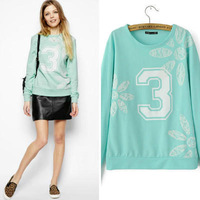 2014 New fashion Europe Women sweet elegant Lace flower letter long sleeve Hoodies Lady casual brand design pullovers#J358