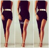 2014 Fashion High collar hem irregular dress sexy party dress dress Elegant Black Slim Evening Party Clubwear New Design