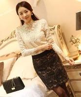 New Spring 2014 Women Crochet Blouse Lace Chiffon Shirt Women Clothing Basic Shirt Vintage Blouses & Shirts