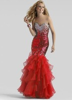New sexy Mermaid Red Blue Sweetheart Beaded Prom Party Evening Dress Organza Off the Shoulder