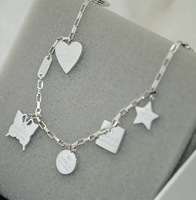 Luxury Brand Geometric Pendant Bangle Heart Butterfly Star Charm Bracelet Silver Titanium Stainless Steel Platinum Plated Chain