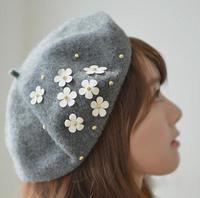 Wholesale 6pcs Fancy Women Spring Floral Wool Berets Caps Trendy Ladies Fall Felt Beret Hats Womens Wool Cap Lady Trilby Hat