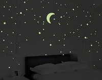 Luminous Stars And Moon Wall Stickers For Dormitory Room Bedroom Children's Bedroom Ceiling Stickers