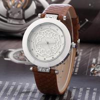 SKONE Brand Fashion Luxury Hollow out Decorative pattern Wrist quartz watch,Women Dress Watch genuine leather watch