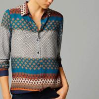 FS2864 Autumn New Fashion Long Sleeve Traditional Printing Blouse Shirt