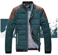 Top qualtiy free shipping men winter casual jacket cotton paded down coat outwear 5 colors M L XL XXL 3XL 4XL 5XL