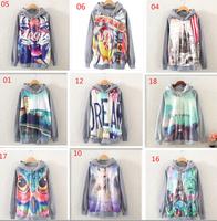 Hot sale !!! 2014 new autumn hoodie  long sleeve round collar ,high quality printing women's hoodies sweatshirt free shipping