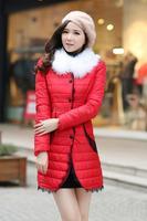 7XL Jackets Lrage Sized 2014 New Korean Wholesale Cotton with Lace Long Winter Coat Woman Luxury Jacket Thin