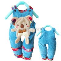 2014 New design baby winter warm pants character bear children bib clothing 2052