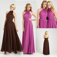 Fashion High Neck A-line Floor Length Bridesmaid Long Dress E51