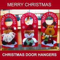"R 50PCS Christmas Door Hangers 10"" MERRY CHRISTMAS Greeting Felt Hangers with Stuffed Santa Claus Snowman Reindeer WHOLESALE"
