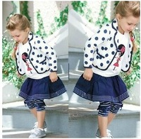 Blue and white polka dots girls set long-sleeve baby suits