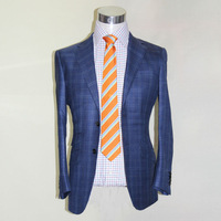 2buttons nortch lapel wool and silk blend dark blue herringbone with big orange check suit for bespoke tailor made business