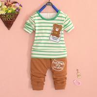 2014 children's wear boy's cartoon bear long sleeve cotton stripe clothes suit A249