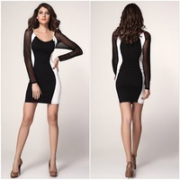 New 2014 fashion women lady Summer Casual Dress Black And Gray Stitching S,M,L,XL size Long Sleeve Bottoming Dress
