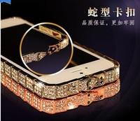 Deluxe Sparkling Elegant Crystal Diamond Element Metal snakelike Bumper Case Cover For iPhone 5 5S