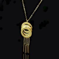 Luxury Brand Logo Multilayer Circles Tassel Pendant Crystals Necklace Women Titanium Stainless Steel Short Chain Choker Necklace
