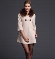 The new winter 2014 cashmere coat wool coat long paragraph raccoon fur collar woolen coat NDX147 Y9W