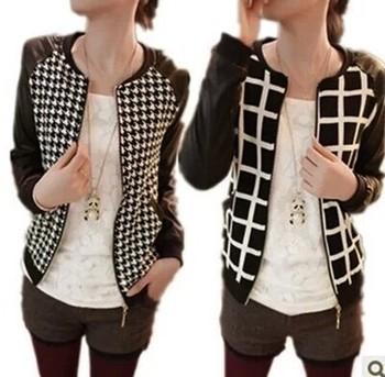 Женщины Coat 2014 Autumn Jacket Ladies Повседневный Slim Plaid Faux Pu Leather Jackets ...