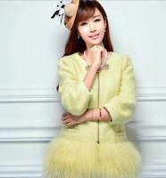 Woolen coat female 2014 winter new fashion long-sleeved wool coat Korean Slim stitching NDX148 Y9W