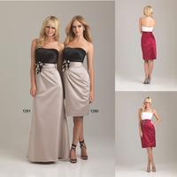 Custom Made Fashion Scoop A-line Knee Length Satin Bridesmaid Dress With Flower E56