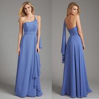 Fashion Light Blue One Shoulder Chiffon Long Evening Dress E55
