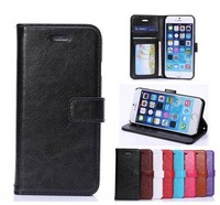 For iPhone6 Plus,Fashion PU Leather Wallet Pouch Case for iPhone 6 Plus 5.5 inch,with Card Holder and stand,50pcs/lot