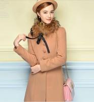 Woolen coat winter 2014 new Korean female wool coat long paragraph Slim Women NDX150 Y9W