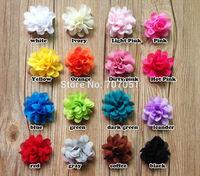 32pcs 2inch 16color Hair accessory mini DIY Chiffon Satin Flowers Hair Flowers Corsage Flat Back shoes flower hair accessory