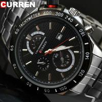 F1 Sports Auto Date Waterproof Quartz Mens Wrist watches White Steel Band Hour Curren Brand 8148