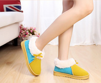 2014 New Autumn Boots Ankle Plush ladies' Onta Flats Warm Shoes Home Shoes Snow Boots for Women Winter Leather Boots A132