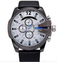 Japanese Quart PC32 Quart Movement Watch  Men Brave Wristwatches Leather Strap Watches Sports Quartz DZ Watch Male relogio Clock