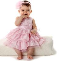 2Pcs Girl Kids Baby Party Headband+Dress Layered Rose Tutu Clothing Set Princess Apparel & Accessories Children's Clothing