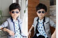 2014 new autumn Korean boy fashion Bailey lattice cotton children's small suit children Loose coat