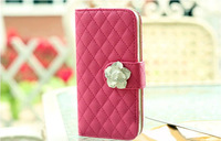 The new listing Camellia set auger holster wallet card bag cartwheel stent soft grid phone cover case for iphone 6