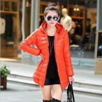 2014 new winter coat female fashion Slim Women Casual Cotton-padded long padded coat ladies hooded jacket M / L / XL / XXL