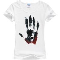 2014 Causal Cartoon Tee Cotton Short Sleeved Plus Size T shirt Women rock  Shirts tops  Free Shipping