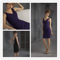 Amazing Short Mini Sheath V-neckline Sleeveless Ruched Chiffon Purple Patterns For Bridesmaids Dresses