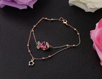 2014 New Wholesale Elegant 18K Rose Gold Plated Pink Crystal Lovely Fish Bracelet Jewelry Free Shipping