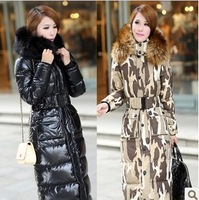 2014 winter women down jacket large fur collar thickening ultra long over the knee down coat outerwear with a hood down jackets